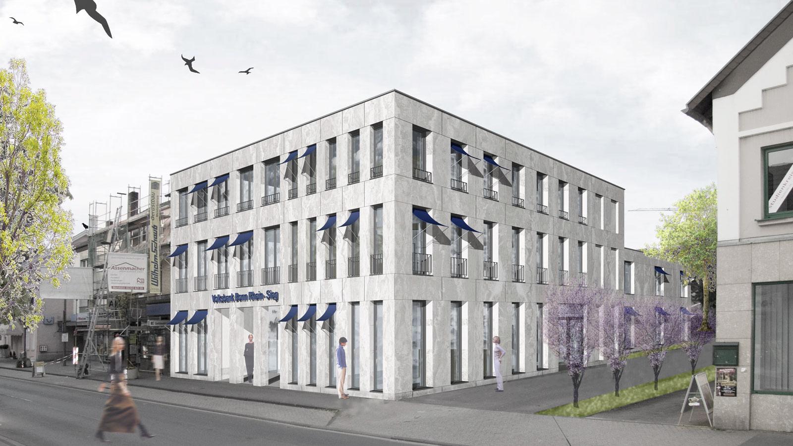 Volksbank und Wohnen Bornheim, Architekt Bonn Energetische Modernisierung Volksbank, Koenigs Rütter Architket