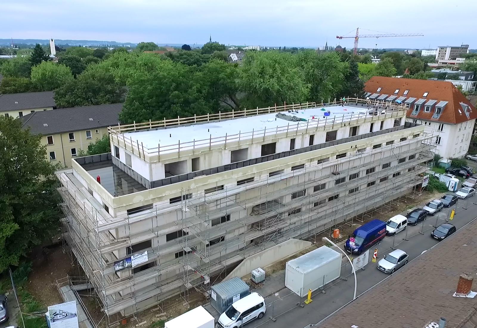 Rohbauarbeiten abgeschlossen! Drususstraße Studierendenwohnheim, neubau Architekt Bonn