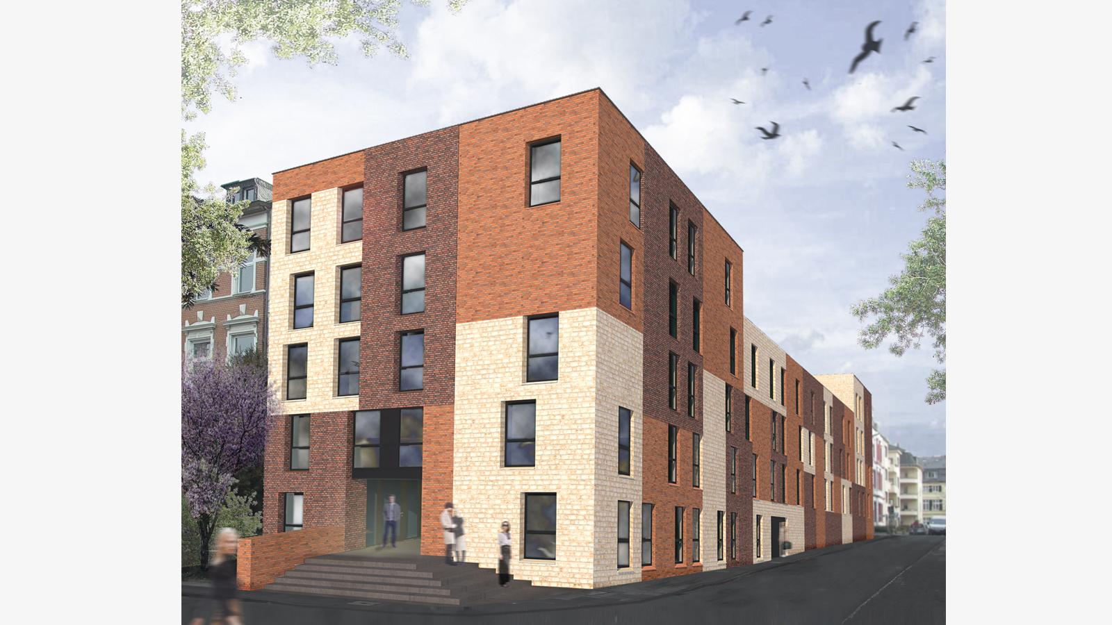 Studierendenwohnheim Kaiserstraße - 70 Apartments für Studierende in der Bonner Südstadt fertiggestellt. Koenigs Rütter Architekten Bonn.